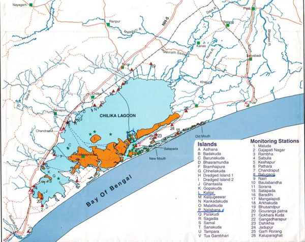Chilika lake map